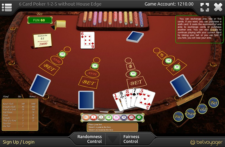 6 Card Poker game table, Six Card Poker bets